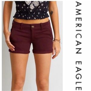 """American Eagle Outfitters Maroon """"Shortie"""" Shorts"""